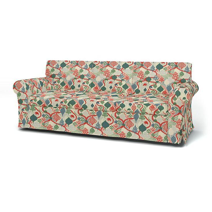 Ektorp, Housses de canapé, 3 places, Regular Fit utiliser le tissu Saga Forest  Red/White