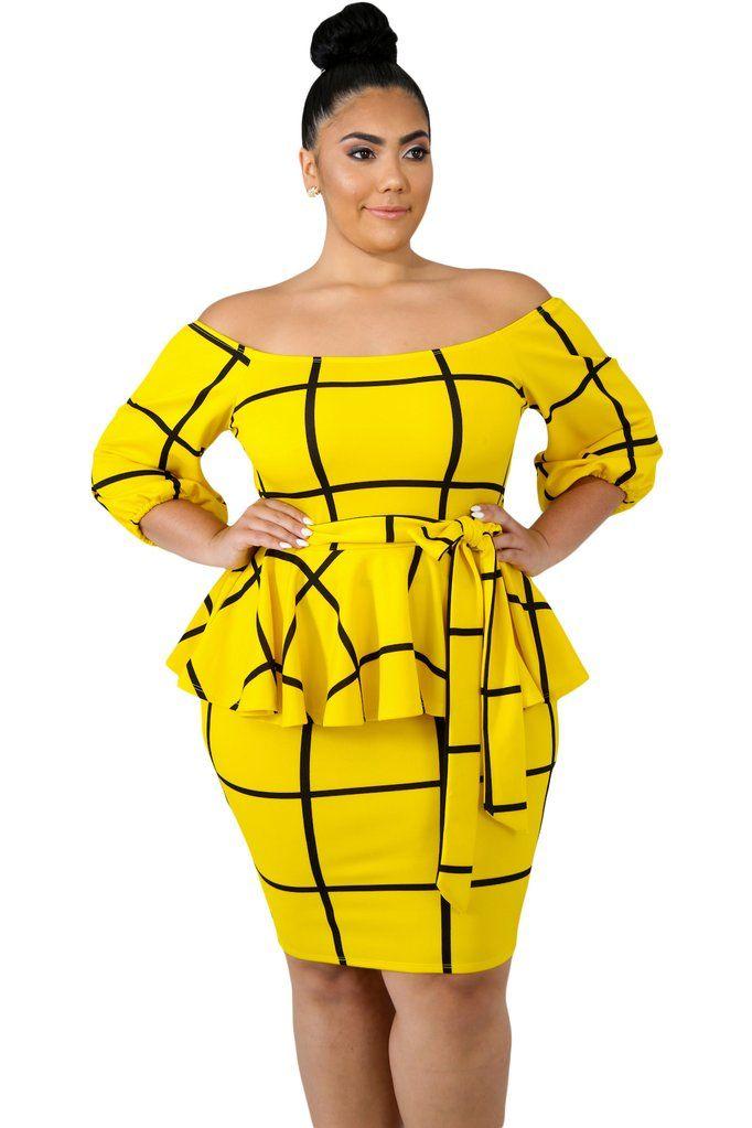 65fb6f9a473 robe peplum à épaules dénudées • coupe près du genou • tissu extensible de  qualité montrant de meilleures courbes • fabrication exclusive en taille  plus ...
