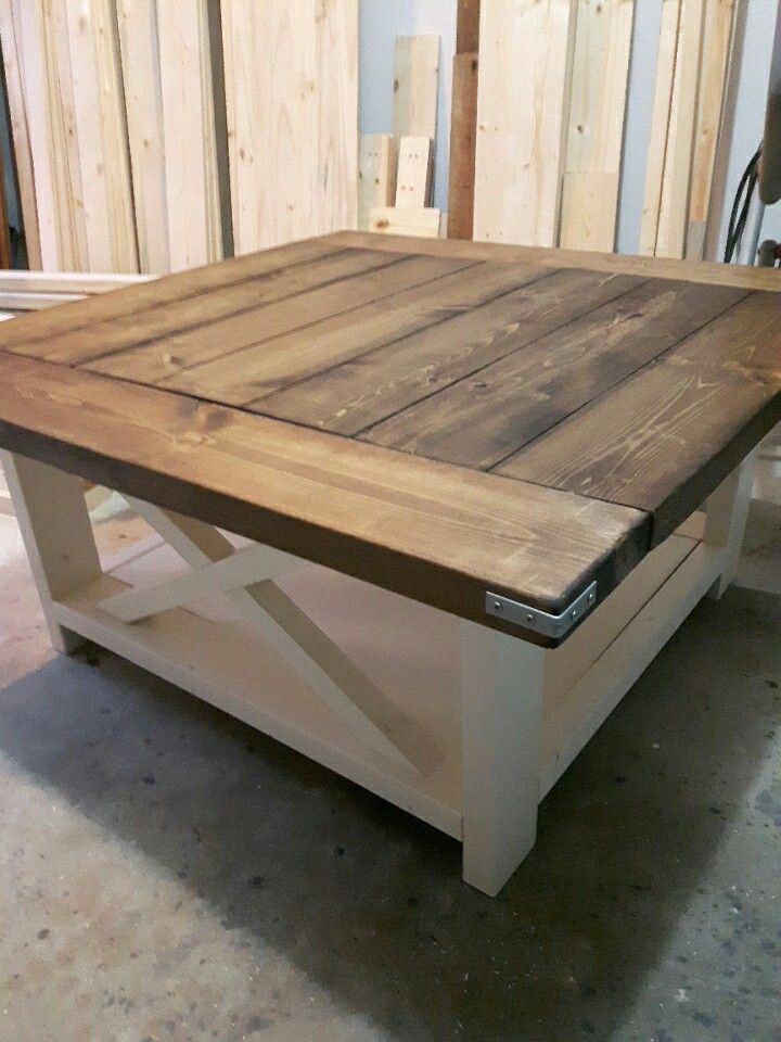 "38"" square coffee table in dark walnut and antique white paint  Love this minus the metal details on the corners"