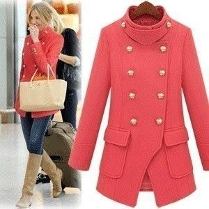 Popular Trendy Military Band-Style Wool Winter Coat 2 Colors XS-XL