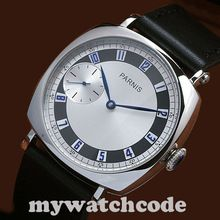 44MM parnis silver dial blue marks leather Asia 6497 hand winding mens watch 341(China (Mainland))
