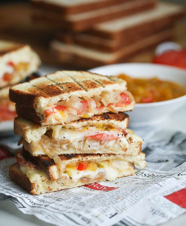 Grill Cheese Sandwich- South African Style. Oeey, gooey, Smokey, Cheesy, Spicy, Sweet and crunchy. One of a Kind!