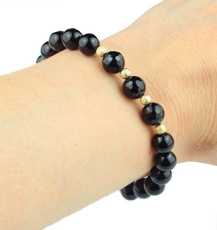 Elegant Black Bracelet, Black Onyx Bracelet, Bracelet Gemstone Black, Black Onyx Gift, Mom Gift, Onyx Gift Jewelry, Gift for Her, Wife Gift by ILgemstones on Etsy