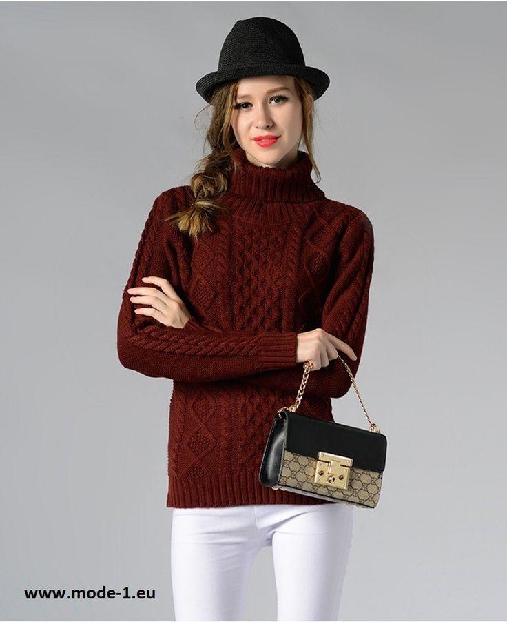 Damen Strick Pullover in Braun mit Rollkragen