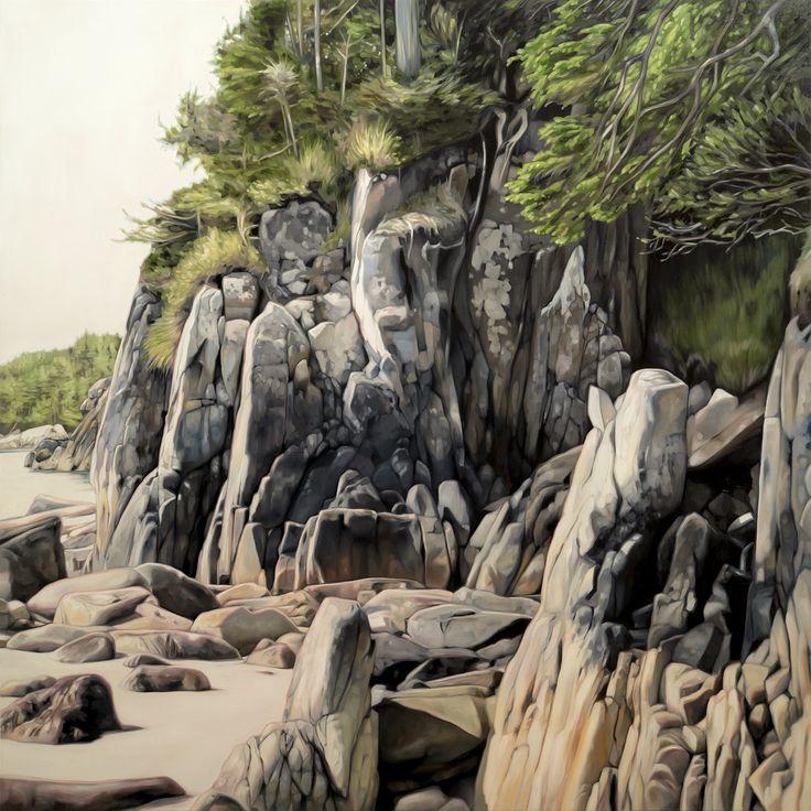 """Backshore"". Oil on Birch. 2016. 36""x36"". collinelder.com ...  [ #cascadia #salishsea #pacificnorthwest #pnw #pacific #ocean #backshore #shore #coast #oilpainting #painting #art #culture ]"