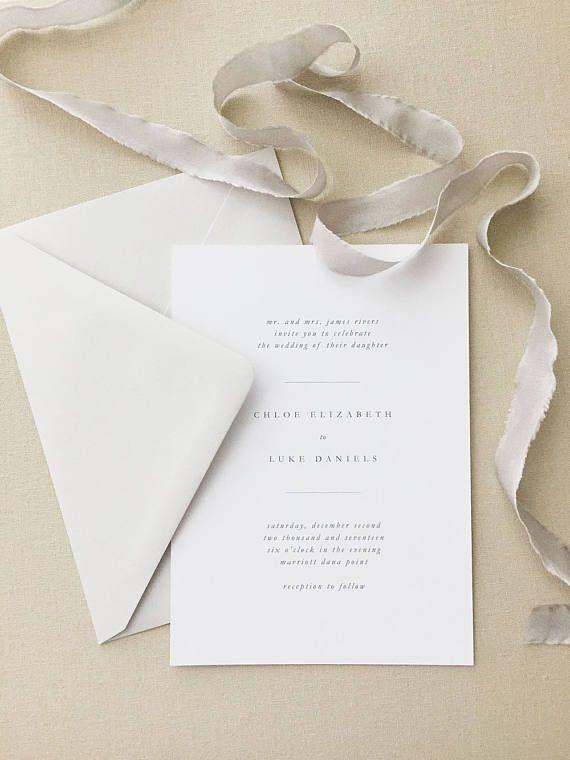 Chloe Simple Wedding Invitation by August and White | Minimalist Wedding Invitation | Letterpress Wedding Invitation | Wedding Invite
