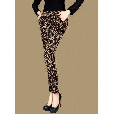 2014 spring autumn  fashion  leggings women tattoo no pilling  velvet pants waist pocket retro flower leaf pants capirs