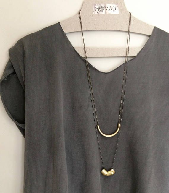 Long chain necklace/charms/geometry