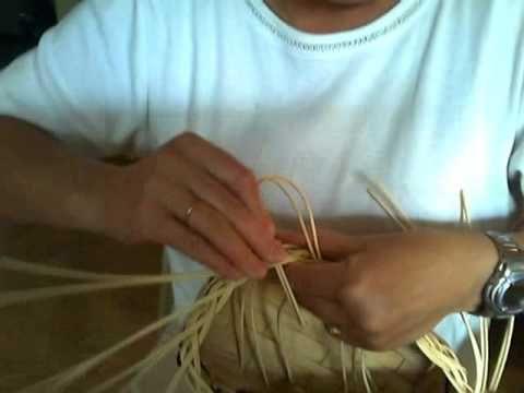 Basket Weaving Video #26b - Mini Muffin Basket Step 2 of the Braided Rim - YouTube