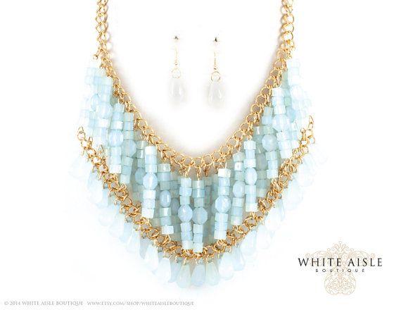 Blauwe halsketting, Fashion ketting oorbel Set, Vintage stijl verklaring ketting, bruids juwelen, sieraden van de bruidsmeisjes, kostuum juwelen