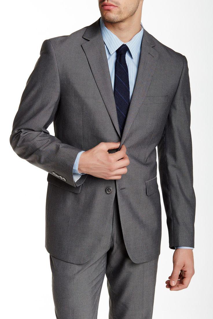 Grey Herringbone Two Button Notch Lapel Slim Fit Suit Separates Jacket