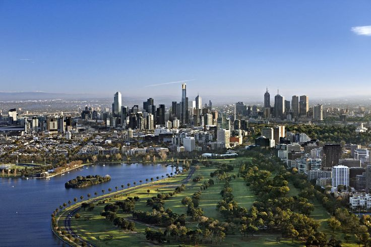 Aerial view of Melbourne with Albert Park & Albert Park Lake in foreground - Melbourne, Victoria