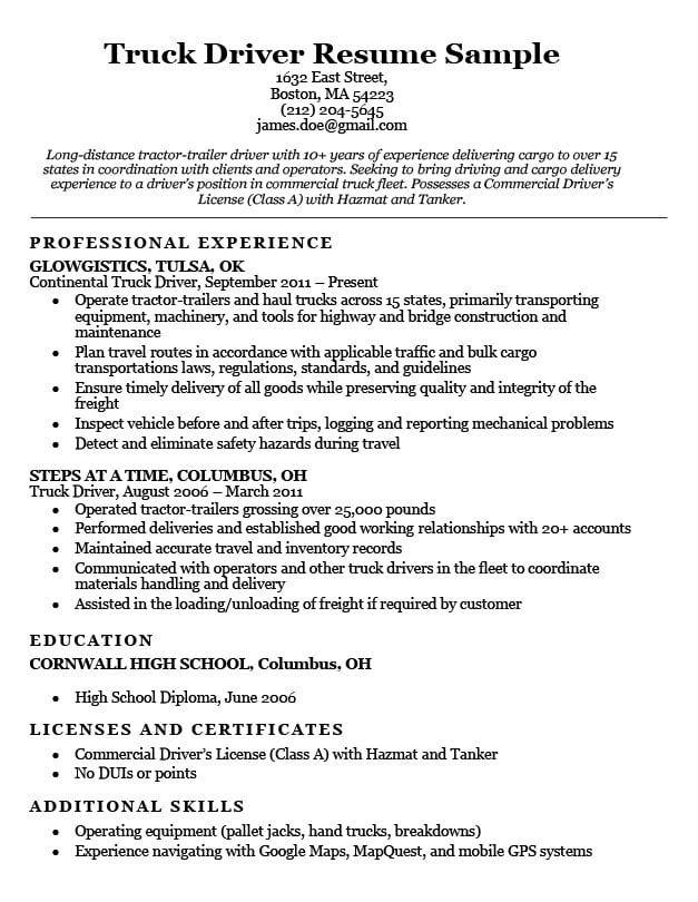 Truck Driver Resume Sample Resume Companion Driver Job Resume Examples Truck Driver Jobs