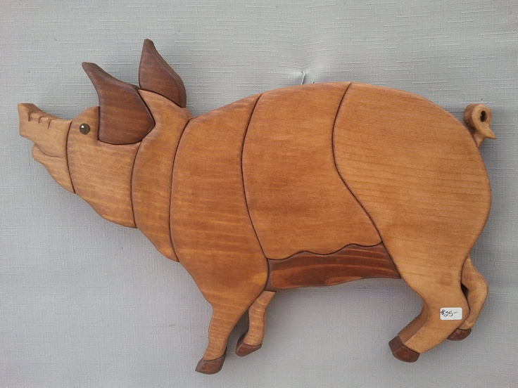 Pig Country Farm Animal Wood Art Intarsia Wall Hanging Art