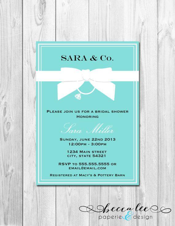 Bridal Shower Invitation - Tiffany & Co. Inspired - DIY - Printable on Etsy, $13.00