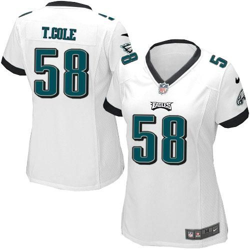 Nike NFL Philadelphia Eagles #58 Trent Cole Limited Women White Road Jersey Sale