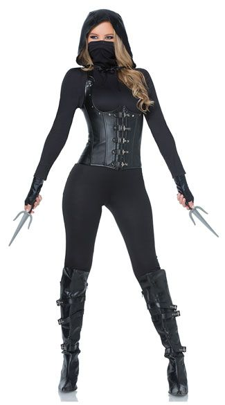 Blend into the shadows in this Seductive Dark Assassin costume featuring a black jumpsuit with long sleeves, a face mask, a back zipper closure, a matching underbust corset with halter straps, front buckle closures, built-in steel boning, a lace-up back closure, a matching hood, fingerless gloves, and toy sais.  Seductive Dark Assassin Costume, Sexy Assassin Costume, Sexy Ninja Costume