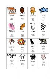 English worksheet: Animals Taboo game