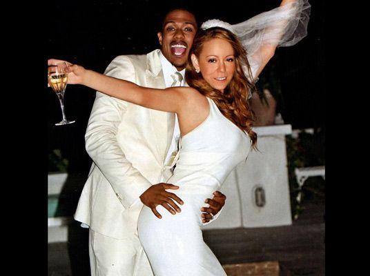 Een feestende Mariah Carey tijdens haar huwelijksdag