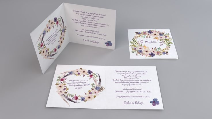 Vintage esküvői meghívó, virágkoszorú esküvői meghívó - vintage flowers wedding invitation