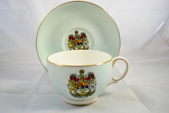 Paragon Tea Set Canadian Coat of Arms  Pale Blue and Gold , Collectible Tea Cup and Saucer