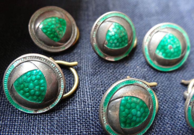 antique set 6 SILVER & guilloche enamel arts & crafts green buttons Liberty C683