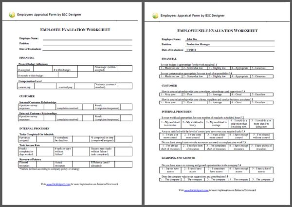Employee Evaluation Form Example Employees Appraisal With Balanced Scorecard  Employee Appraisal Form Sample