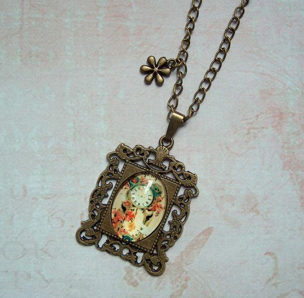 Ketten lang - Kette Cabochon Uhr Blume Bronze Shabby Vintage - ein Designerstück von MiMaKaefer bei DaWanda