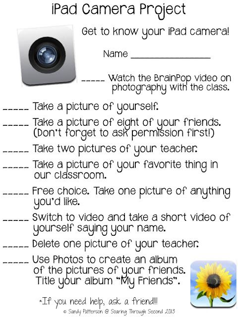 Technology Tailgate: Getting Your Students Started with iPads --using the camera
