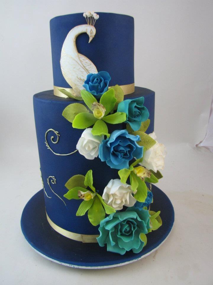 Precioso cake com tema de Pavo real azul y verde