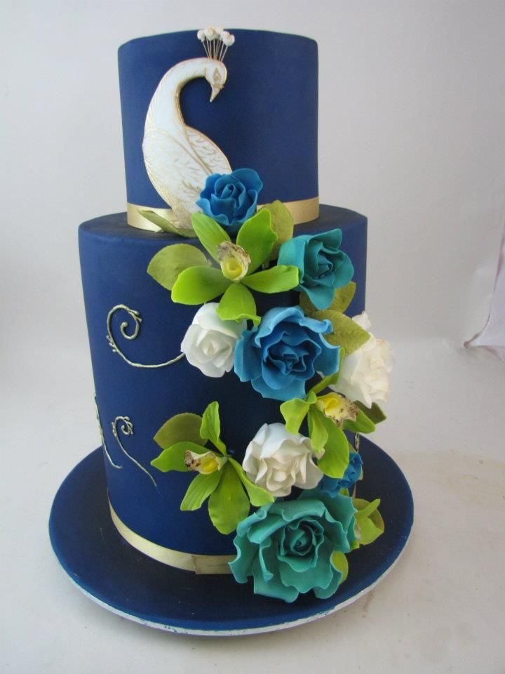 Orchid peacock cake