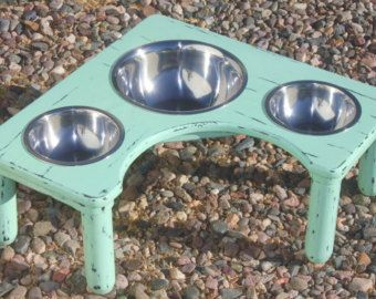 Xtra SMALL Shabby Chic Three Bowl Raised by DogridgeRanchStudio