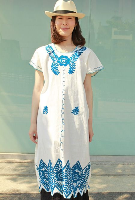 メキシコ刺繍の洋服ワンピース、チュニック、メキシカン刺繍