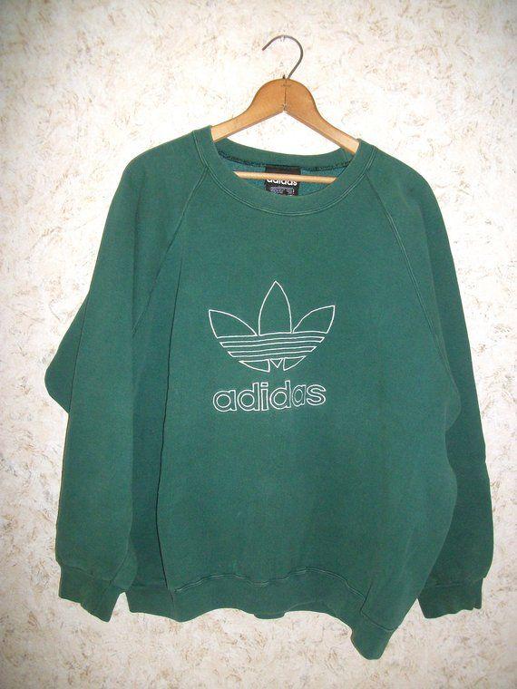 7575e048a35 Vintage Adidas Trefoil Large Spellout Logo Sweatshirt Embroidered 90s Hip  Hop Street Wear Green Boyfriend Oversized Grunge Pullover Unisex L