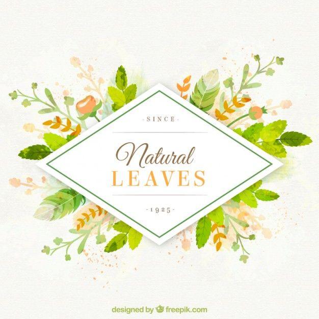 Peint à la main des feuilles naturelles de fond Vecteur gratuit