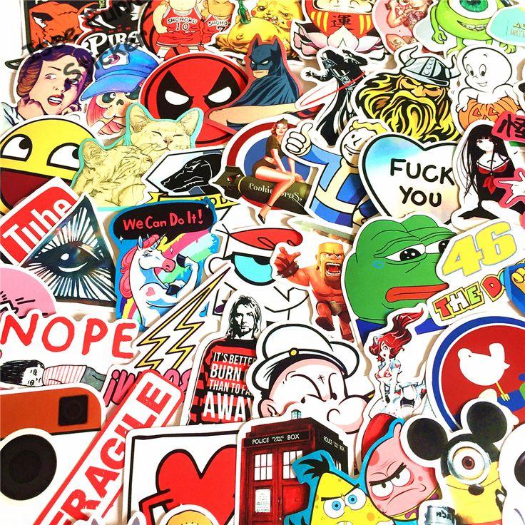 New 100pcs NO repeat funny car styling JDM stickers Supreme Overwatch youtube logo autocollant brand DIY sticker on laptop vespa