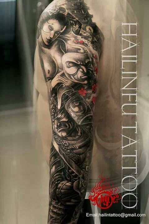 Great tattoo By Hailin Fu / Samurai / mask / girl