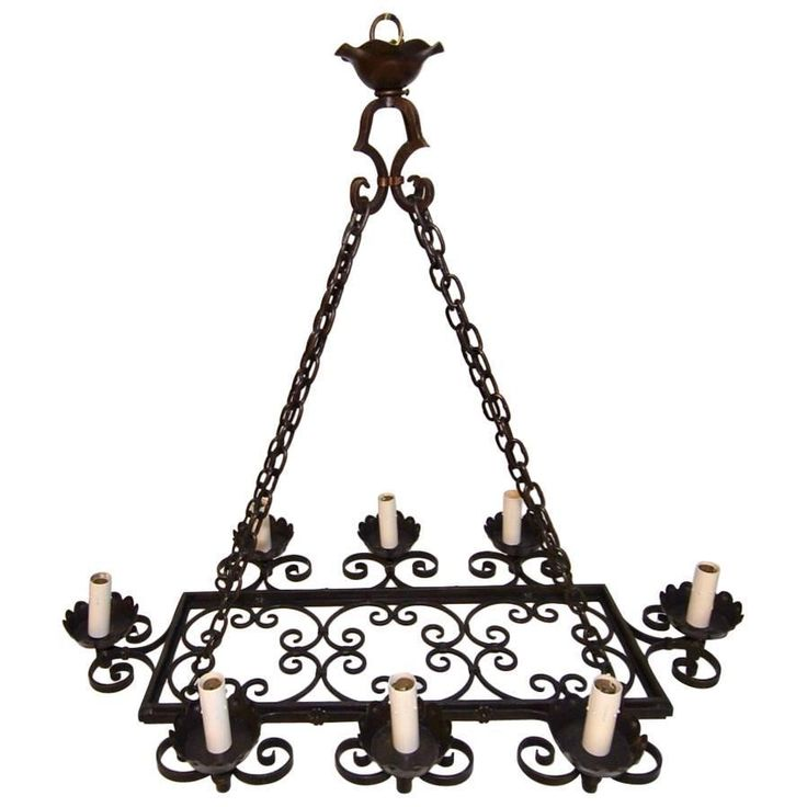 Beautiful Large All Hands Made French, 1940s Wrought Iron Chandelier