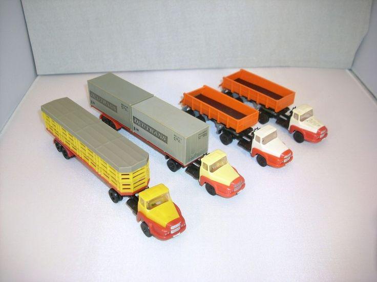 4 St UNIC Sattelzug Kipper Container Tiertransporter für H0 Bahn DDR Modellauto