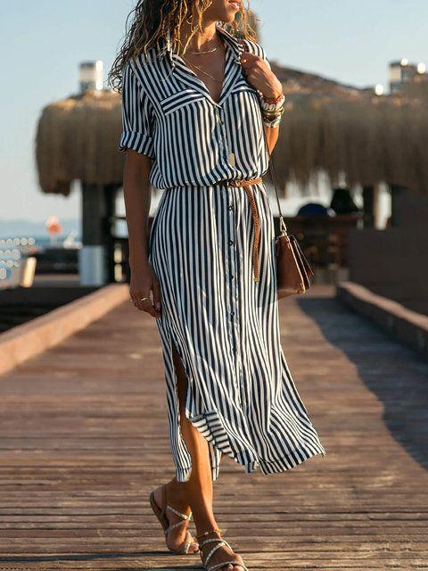 Dresses, Blue, Striped, Half Sleeve, Shift, Slit, Spring / Fall, 18 ~ 24,25 ~ 34,35 ~ 44, Natura …