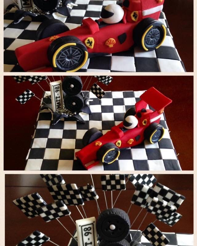 A cake for the F1 lover in the family!  #F1cake #ferraricake #birthdaycake #ferrari #satinice #cake #fondant #tyres #carracing #homemade #madewithlove #familytraditions