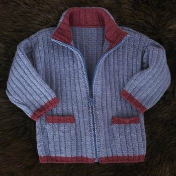 Boy's Colour Tipped Zipped Jacket and Baker Boy Cap FREE knitting pattern in sizes 0-6 months right up to 7-8 years