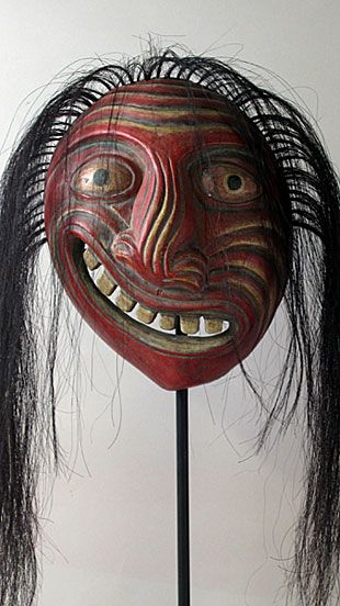 Iroquois Broken Nose Mask  Iroquois people, Northeastern United States  9 inches, painted wood and animal hair