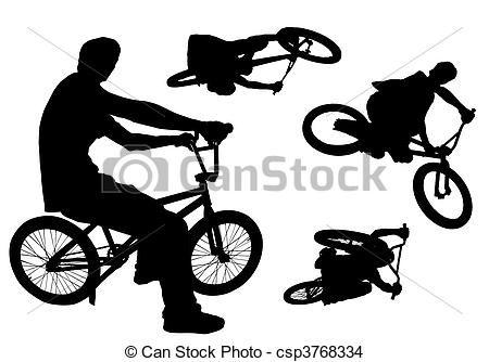 BMX. Siluetas de ciclistas en sus bicicletas bmx.   santy carpeta ...