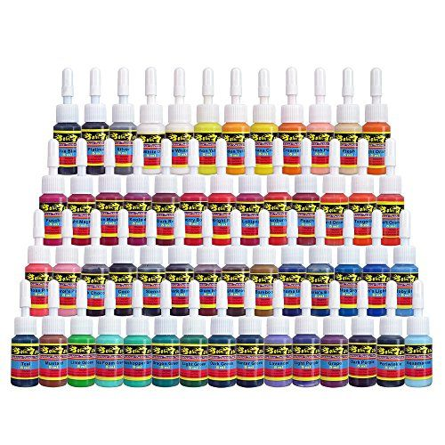 Solong Tattoo 54 Complete Colors Tattoo Ink Set Pigment Kit 1/6oz (5ml) Tattoo Supply for Tattoo Kit TI1001-5-54  Solong Tattoo Inks are professional tattoo pigment colors.  Solong Tattoo ink colors, 1/6oz (5ml) /bottle  Each ink is positive for tattoo artists. All the pigment neither Layer nor fade.  One gram pigment is completely soluble in water, indicating color up very quickly. Skin easily absorb pigment, no fade after the repair, color is very positive.  All pigments sterilized b...
