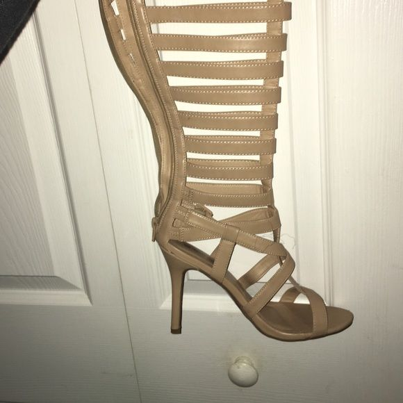 Nude caged heeled sandals Calf high/ true to size Wild Diva Shoes Sandals