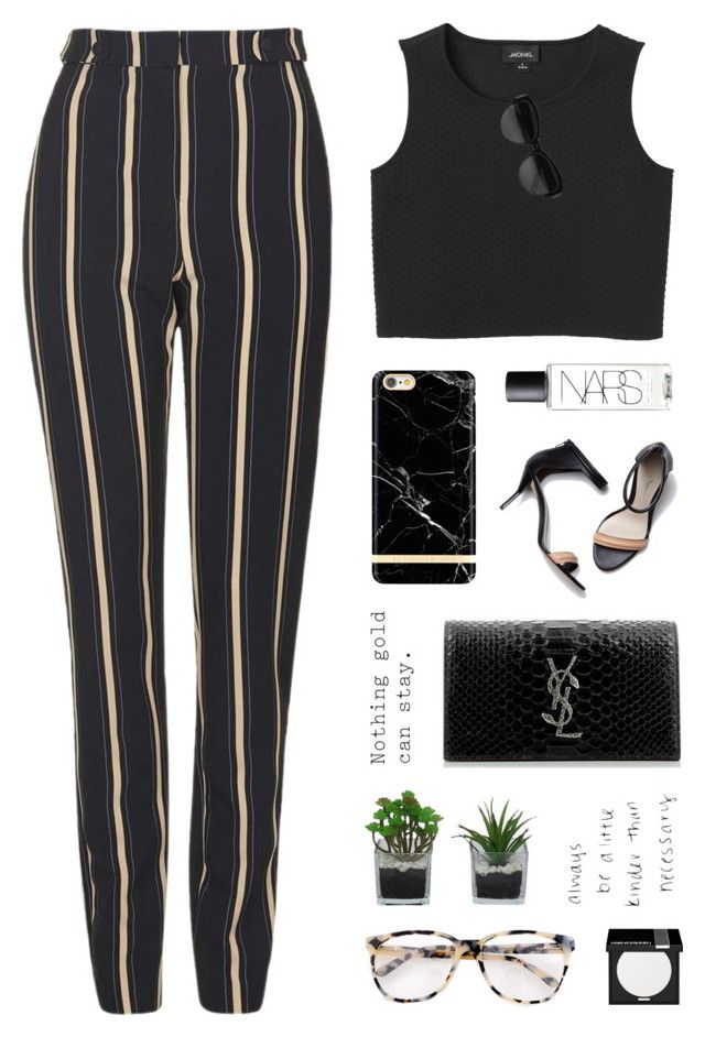 Striped Trousers by starit on Polyvore featuring Monki, Topshop, Yves Saint  Laurent, Prism
