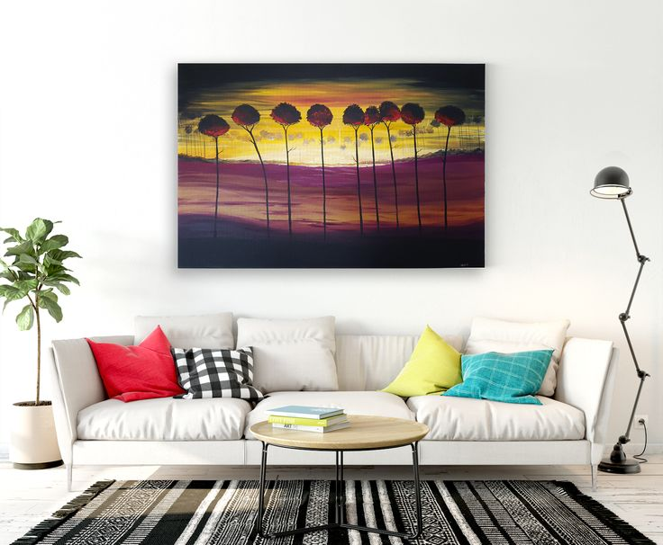 """Original Contemporary Artwork 24"""" x 36"""" x .75""""  Tantalising yellows and fierce Purples, Red & Maroon capture the early morning sun as the line of trees glow beneath the first rays of light making them appear ignited.  https://www.etsy.com/ca/listing/472871396/hand-painted-large-contemporary-abstract?ref=shop_home_active_8"""