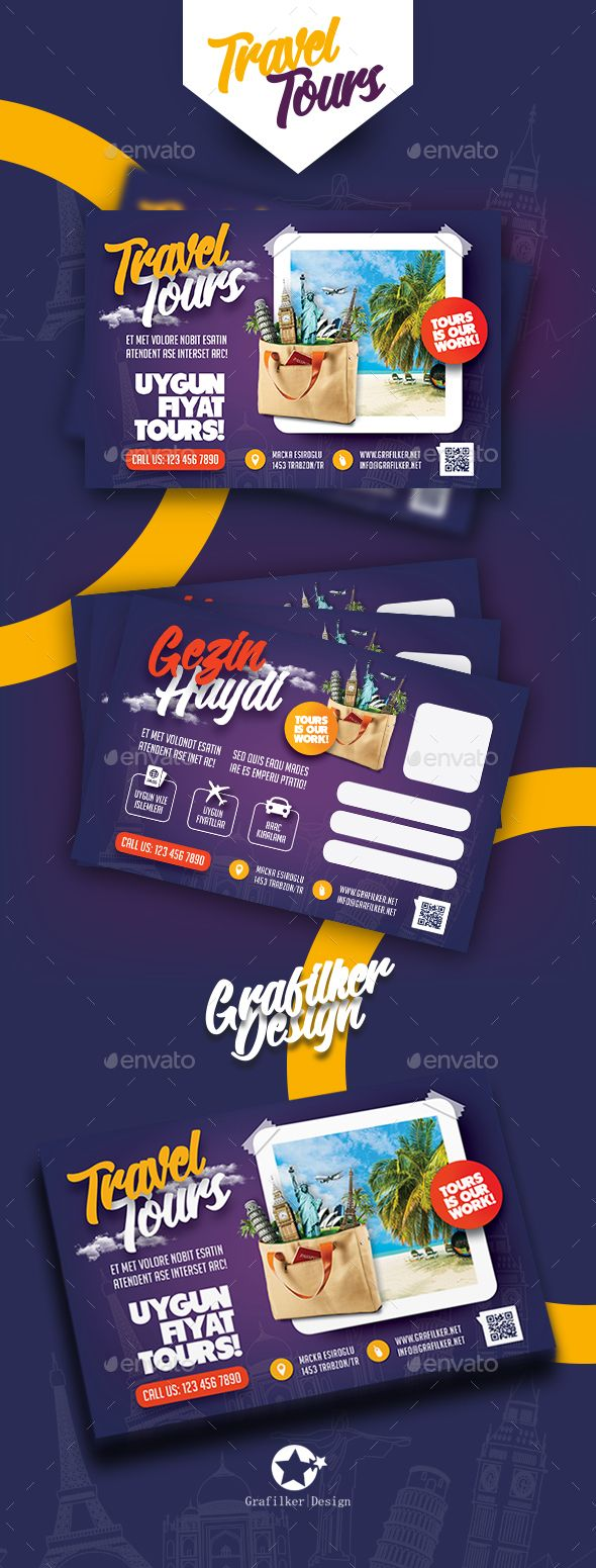 Travel Tours Postcard Templates by grafilker Travel Tours Postcard Templates Fully layeredINDDFully layeredPSD300 Dpi, CMYKIDML format openIndesign CS4 or laterCompletely edit
