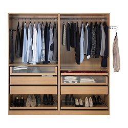 PAX Wardrobe, oak effect, Nexus oak veneer - 200x60x201 cm - soft closing hinge - IKEA